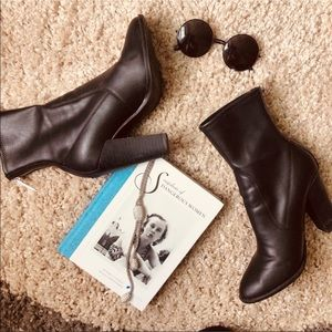 ALDO Black Faux Leather - Over Ankle Booties